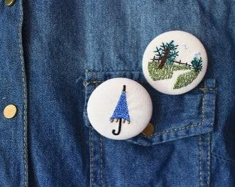 Umbrella and Nature Stitched Pin