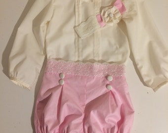 Spanish style jam pant set in pink & ivory