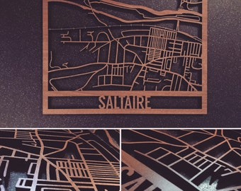 Intricately Laser Cut Walnut Veneered Saltaire Map Wall Art