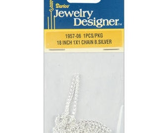 Jewelry Designer Slimpack Silver Metal Chain-18 Inch 1x1 Chain