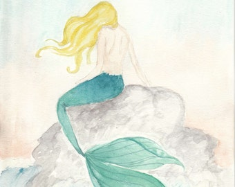 Watercolor Mermaid Print