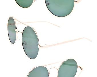 Round Fashion Green Lens Sunglasses