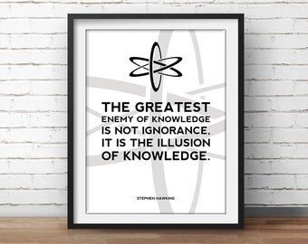 Science Poster Hawking Quote - Science Art, Geek Posters, Atheist Print, Wall Art, Scientist Poster, 18x24 Poster
