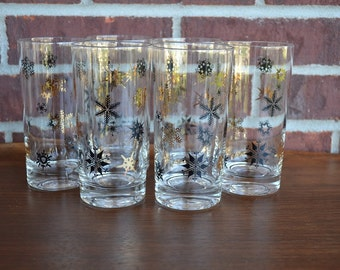 Set of 6 Vintage Black and Gold Snowflake Glasses / Bar ware / Party / Holidays / Christmas