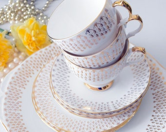 Perfect mini set, Creamy Gold Gainsborough Bone China, c 1950s