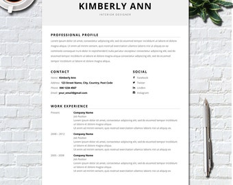 Resume Template - CV Template + Cover Letter for MS Word - Professional and Modern Resume Design - Creative Resume- Kimberly Ann