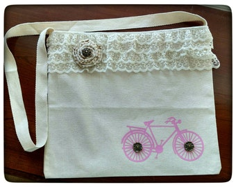Vintage Look Shabby Chic Bicycle Messenger Bag