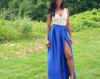 """High Slit Satin Ball Skirt """"Tina"""" (Several Colors) XS - 6XL"""