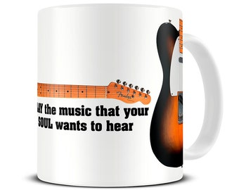 Gifts for Musicians - Play the Music Quote - Guitar Mug - Blues Music - MG453