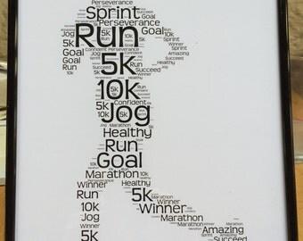 UNFRAMED female runner word Art