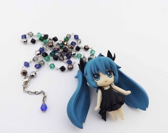 Vocaloid Miku Hatsune themed crystal Kawaii necklace anime gaming cosplay crystal jewelry