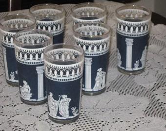 Wedgewood Glasses, Hellenic Pattern Dark Blue
