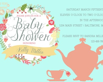 Tea Party Shower Invite
