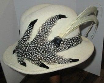 Jack McConnell VintageWinter White One-of-a-kind Felt Hat