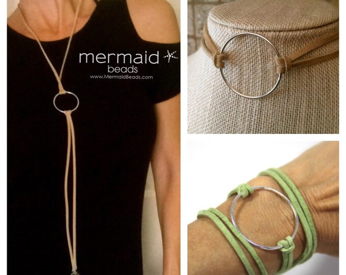 Clothing Gift Personalized Leather Vegan Suede Choker Necklace Bracelet Circle Cuff Custom Color Black Tan Blue Purple Boho Wrap Bracelet