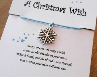Snowflake wish bracelet, stocking filler, secret santa, snowflake, christmas, party favor, winter themed party favour, party favours