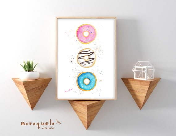 DOUGHNUTS ILLUSTRATION in watercolor. Fanny DONUTS painted, wall , Bright, vibrant colors. Modern Fashion Room Decor, cake, food art prints