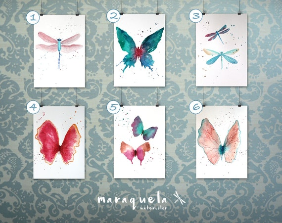 Set of Butterflies and Dragonflies  - Art decor, handmade, watercolor, painting, butterfly - ONLY Original