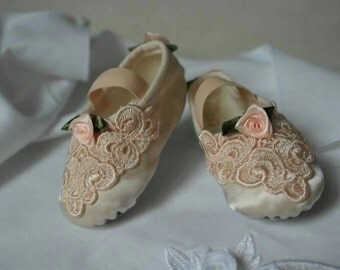 Peach Rose Baby Shoes