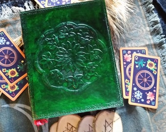 Floral Madala Leather Bound Blank Book