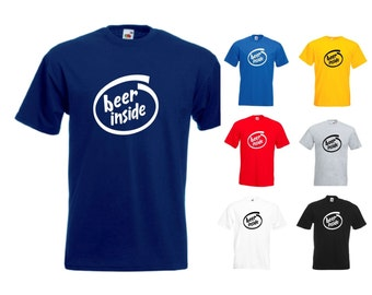 Beer Inside Mens/Adults Novelty Classic Fit Tshirt - Funny/Gift/Joke/Secret Santa/Father's Day/Novelty/Slogan