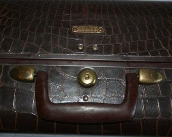 Vintage 1940s-1950s Samsonite Suitcase Luggage - Brown Faux Alligator - Suitcase Prop