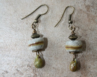 81 Antiqued copper, sandstone and Czech glass wire wrapped earrings, boho, artisan, rustic
