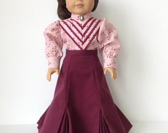 American Girl Doll 1890's Pleated Skirt and Long Sleeve Blouse