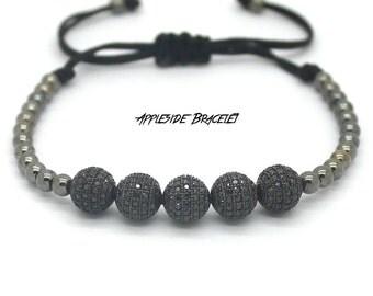 Black Micro Pave Macrame Bracelet