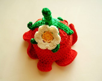 Crochet Strawberry Baby Hat/crochet baby hat/baby girl hat/baby shower gif/ baby girl/newborn hat