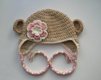 Crochet Sock Monkey Girl Hat