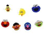 Sesame Street Characters (Set of 7 - Bert, Ernie, Cookie Monster, Elmo, Grover, Oscar & Big Bird) Applique Designs - Instant Download
