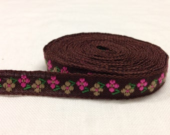 Cotton Ribbon 10 mm Brown with floral design