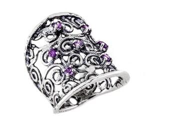 Amethyst Ring, Sterling Silver Amethyst Ring, Amethyst Silver Celtic Ring, February Birthstone Ring, Birthstone Jewelry, purple ring