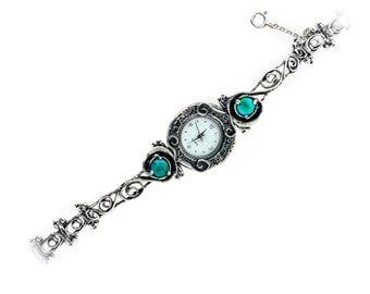 Women Silver watch, Silver Turquoise watch, Turquoise birthstone watch, Waterproof watch, 925 sterling silver watch, handmade