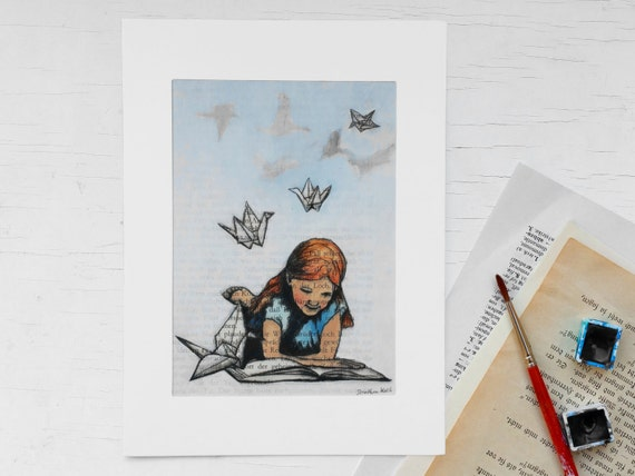 Original art print, bookworm, origami bird,childrens room print, gift bookworms, paper crane, print book page, book art, crane, gift girls