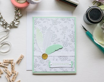 Light Green Feathers Congratulations Card, Handmade Stampin Up Greeting Card