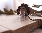 Vial bottle with three dandelion seeds - natural necklace - wishes in a bottle - vintage necklace
