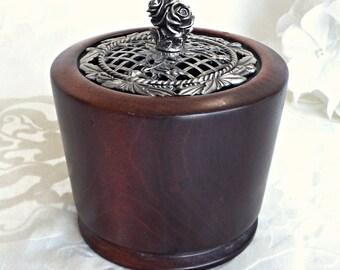 Wood Potpourri Bowl, Home Decor, Wooden Hand Turned Potpourri Bowl, Pewter Lidded Wood Bowl, Vintage Decor, Cottage Chic
