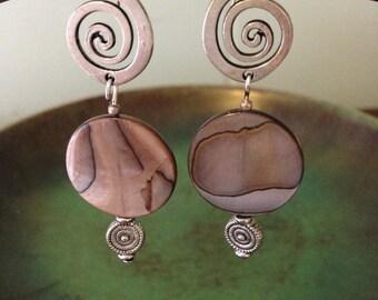 Brown mother of pearl disc earrings