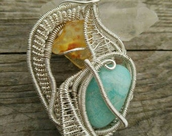 Amber Amazonite silver plated wire wrapped Pendant