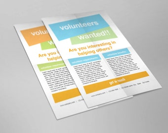 Simple, clean and modern Job wanted, volunteer wanted A4 Size flyer template- 2 colors options available - INSTANT DOWNLOAD