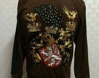 HOUSTON Japan Sukajan Style Embroidered Jacket Sweater Medium Japan Made