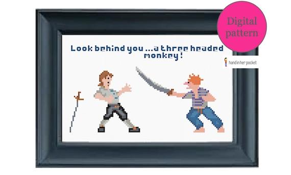 Monkey Island insult swordfighting - cross stitch pattern - digital download