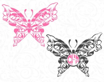 butterfly monogram svg - Monogram butterfly svg - flourish svg =  butterfly svg files - svg butterfly - butterfly svg - Zemma Designs
