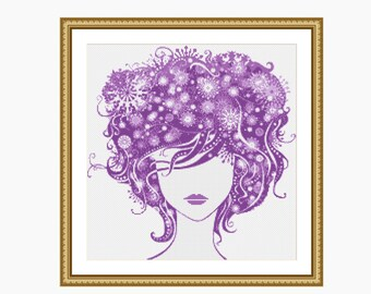 PURPLE LADY cross stitch pattern, modern cross stitch, downloadable PDF cross stitch chart