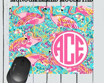 Monogram Mousepad - Lily Pulitzer Inspired Mousepad - Personalized Mousepad