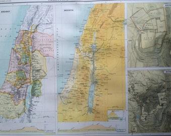 1898 PALESTINE (Ancient & Modern) Large Original Antique Map with inset maps of Jerusalem  14 x 18.5 inches, Bartholomew map, Israel