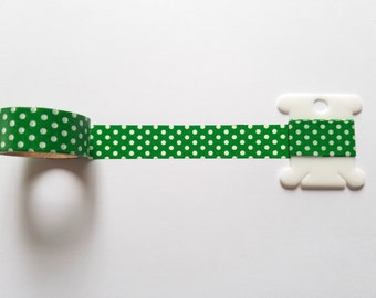 Green with White Polka Dots Washi Tape // Sample // Item #WT095