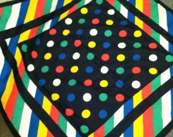 80's Multi-Colored Polka Dot and Striped Scarf - Made in Italy